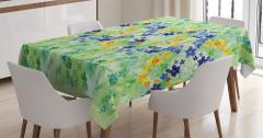Yeşil Masa Örtüsü Rengarenk Çiçek Desenli Bahar