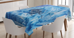 Mavi Masa Örtüsü Balık Desenleri Modern Sanat Trend