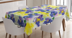 Suluboya Resmi Etkili Masa Örtüsü Mor Sarı Çiçekler