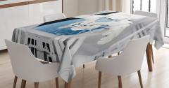 Uzay Temalı Masa Örtüsü Astronot Desenli Gri Mavi