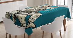 Kadın Astronot Desenli Masa Örtüsü Mavi Şık Tasarım