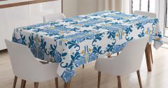 Şık Mavi Sarı Desenli Masa Örtüsü Seramik Etkili