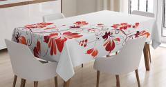 Dekoratif Çiçek Desenli Masa Örtüsü Kırmızı Turuncu