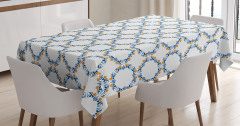 Altın Mavi Çerçeve Desenli Masa Örtüsü Şık Tasarım