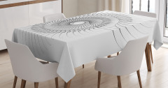 3D Etkili Girdap Desenli Masa Örtüsü Siyah Beyaz