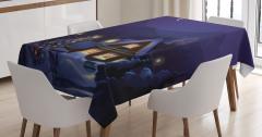 Yılbaşı Ağacı ve Ahşap Ev Desenli Masa Örtüsü Kış
