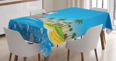 Sörf Yapan Noel Baba Desenli Masa Örtüsü Turkuaz