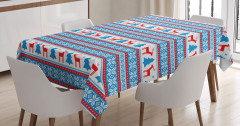 Geyik ve Çam Ağacı Desenli Masa Örtüsü Mavi Beyaz