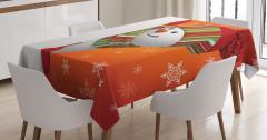 Kardan Adam Desenli Masa Örtüsü Kırmızı Yeşil Kar