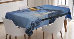 Kış Temalı Masa Örtüsü Mavi Kar Kardan Adam Kulübe