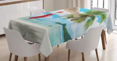 Egzotik Adada Noel Temalı Masa Örtüsü Palmiye Deniz