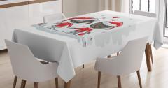 Yılbaşı Aşıkları Temalı Masa Örtüsü Kırmızı Beyaz