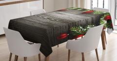 Noel Ağacı Temalı Masa Örtüsü Kahverengi Kırmızı Süs