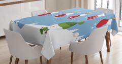 Kardan Adam Desenli Masa Örtüsü Mavi Beyaz Kırmızı