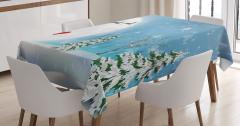 Kardan Adam Desenli Masa Örtüsü Çam Kar Mavi Beyaz