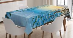Kış Temalı Masa Örtüsü Mavi Beyaz Kar Gün Batımı
