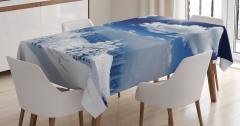 Karlı Dağ Manzaralı Masa Örtüsü Gün Doğumu Beyaz