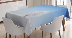 Yalnız Ağaç Temalı Masa Örtüsü Romantik Mavi Beyaz