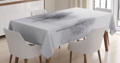 Sisli Kış Manzaralı Masa Örtüsü Beyaz Kahverengi