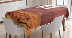 Çöl Manzaralı Masa Örtüsü Kahverengi Gökyüzü Güneş