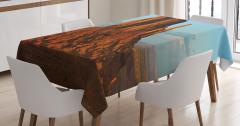 Çöl Manzaralı Masa Örtüsü Kahverengi Mavi Gökyüzü
