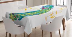 Tavus Kuşu Desenli Masa Örtüsü Sarı Mavi Şık Tasarım