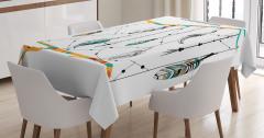 Tüy Desenli Masa Örtüsü Siyah Beyaz Şık Tasarım