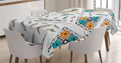 Tüy Desenli Masa Örtüsü Siyah Beyaz Mavi Şık Tasarım