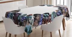 Tüy Desenli Masa Örtüsü Kahverengi Etnik Şık Tasarım