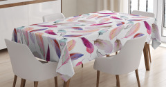 Pembe Kuş Tüyü Desenli Masa Örtüsü Sulu Boya Şık