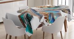 Kuş Tüyü Desenli Masa Örtüsü Mavi Kahverengi Şık