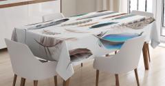 Şık Kuş Tüyü Desenli Masa Örtüsü Mavi Kahverengi