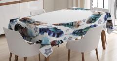 Kuş Tüyü Desenli Masa Örtüsü Mavi Şık Tasarım Trend