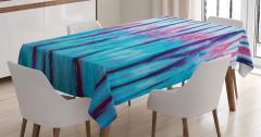 Şık Mavi ve Pembe Desenli Masa Örtüsü Mor Şeritli