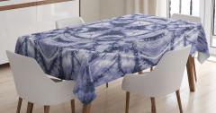Yıldız Formlu Lacivert Desenli Masa Örtüsü Dekoratif