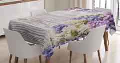 Mor Mavi Çiçek Desenli Masa Örtüsü Ahşap Arka Planlı