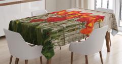 Gelincik Çiçeği ve Çit Desenli Masa Örtüsü Çeyizlik