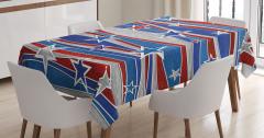 Kırmızı Mavi Yıldız Desenli Masa Örtüsü Ahşap Etkili