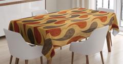 Stilize Damla Desenli Masa Örtüsü Kahverengi Ahşap