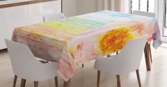 Rengarenk Ahşap Desenli Masa Örtüsü Sarı Çiçekli