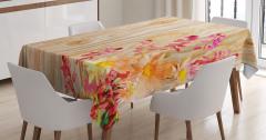 Mor Sarı Çiçek Desenli Masa Örtüsü Ahşap Arka Planlı