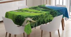 Dağ Evi Manzaralı Masa Örtüsü Yeşil Doğa Ağaç Şık