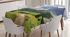 Dağ Manzaralı Masa Örtüsü Doğada Huzur Temalı Yeşil