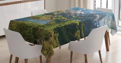 Dağ Gölü Manzaralı Masa Örtüsü Yeşil Mavi Gökyüzü