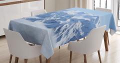 Karlı Dağ Manzaralı Masa Örtüsü Beyaz Mavi Gökyüzü