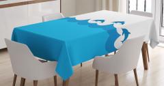 Masa Örtüsü Denizde Yüzen Yunuslar Mavi Beyaz