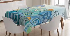 Çocuklar için Masa Örtüsü Yunus ve Balıklar Mavi