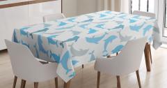 Beyaz Masa Örtüsü Mavi Gri Yunus Desenleri Deniz