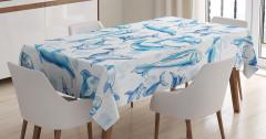 Okyanus Hayatı Temalı Masa Örtüsü Mavi Yunus Desenli