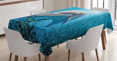 Okyanus Hayatı Temalı Masa Örtüsü Yunus ve Balıklar
